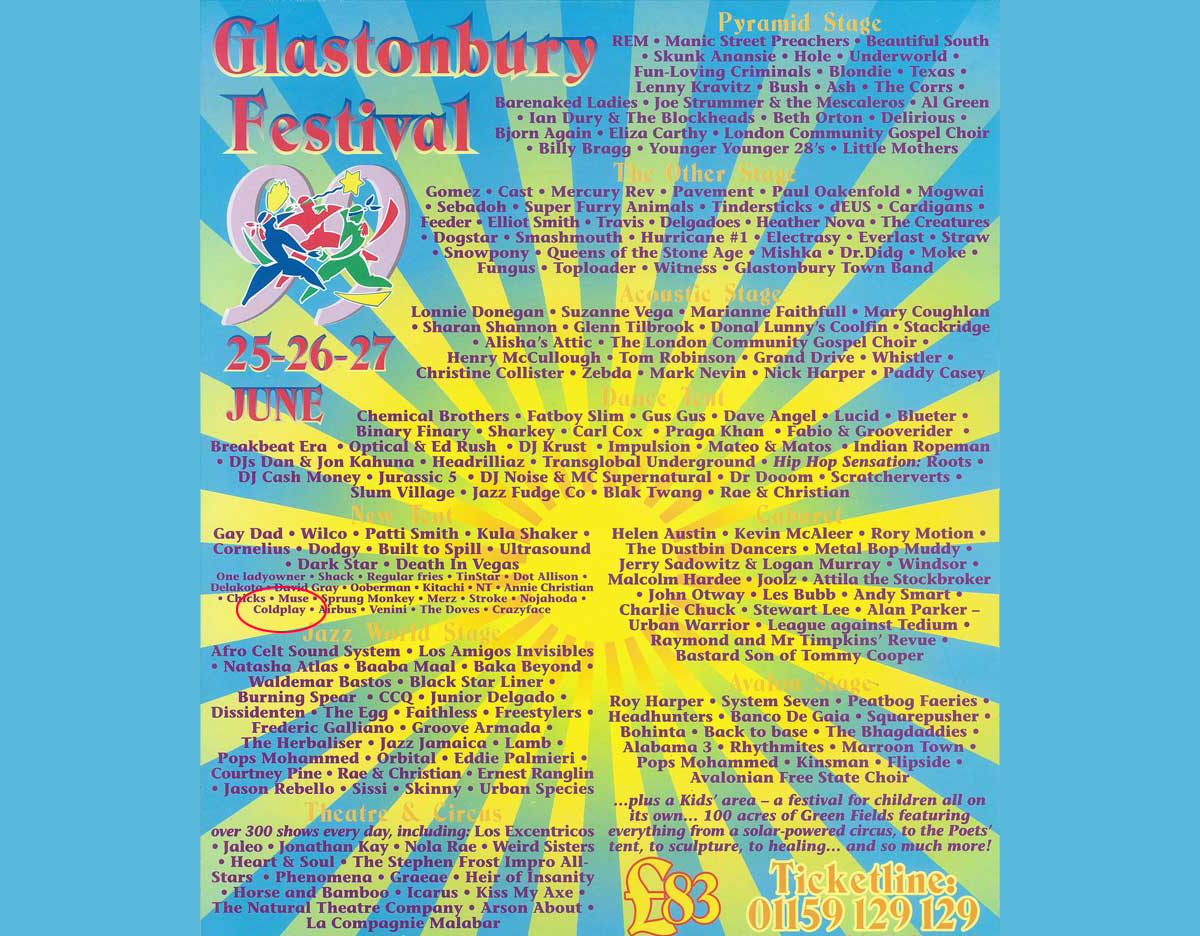 Coldplay played Glastonbury 1999